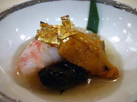 Sake-Steamed Beef - shrimp, shiitake, and uni